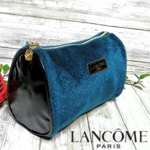 LANCOME Faux Fur Teal Paris Signature Cosmetic Bag